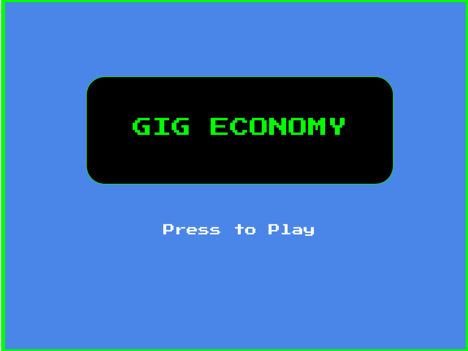 Gig Economy retro game play button