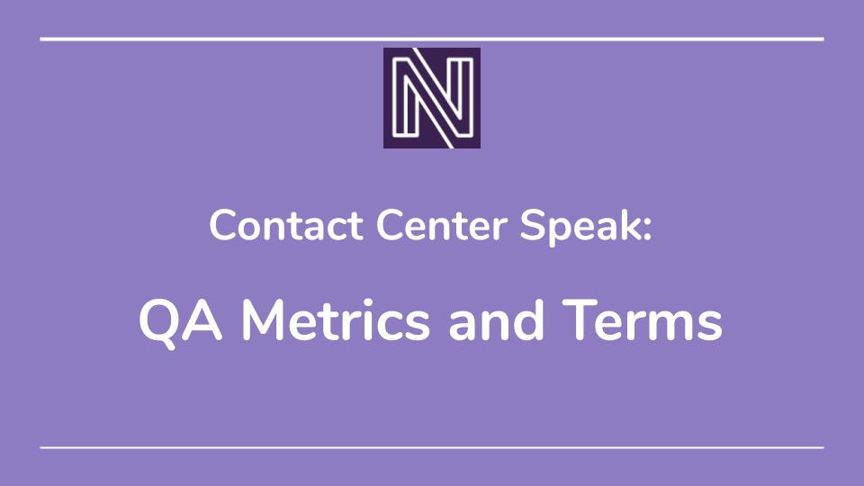 QA Metrics and Terms slide